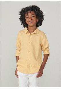 Camisa Infantil Hering Linho Masculina - Masculino-Amarelo