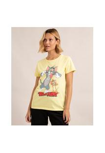 Camiseta De Algodão Tom E Jerry Manga Curta Decote Redondo Amarelo Claro