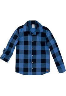 Camisa Infantil Hering Xadrez Manga Longa Masculina - Masculino-Azul