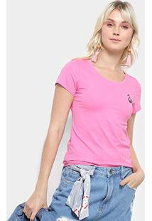 Camiseta Top Moda Bordada Feminina - Feminino-Rosa