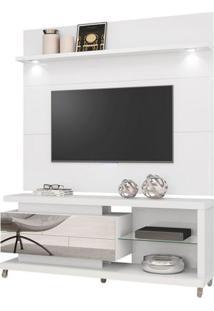 Painel Para Tv De Até 55'' + Rack Reflecta - 100% Mdf - Branco Laca
