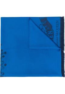 Alexander Mcqueen Cachecol Com Padronagem De Caveira - Azul