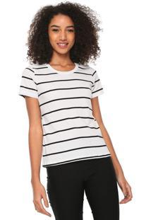 Camiseta Hering Reta Listrada Branca/Preta - Branco - Feminino - Algodã£O - Dafiti