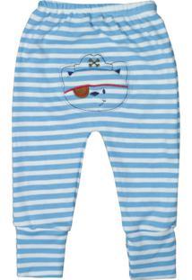Calça De Bebê Com Pé Reversíve Bordado Listras Azul Azul