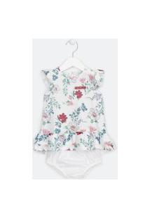 Vestido Infantil Estampa Floral - Tam 0 A 18 Meses | Teddy Boom (0 A 18 Meses) | Branco | 0-3M