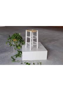 [Outlet] Banqueta De Palha Pestre Branca - 38X38X70 Cm