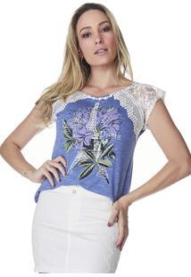 T-Shirt Celestine Estampada Azul Mescla
