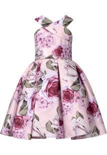 Vestido Infantil Cattai Floral Com Strass Na Cintura