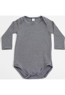 Body Infantil Bebê Listrado Manga Longa