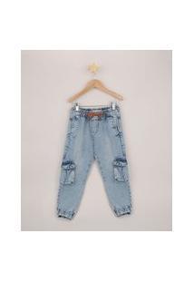 Calça Jeans Infantil Jogger Cargo Com Cordão Azul Médio