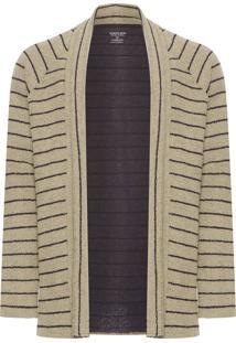 Cardigan Masculino Rustic Stripe - Preto E Bege