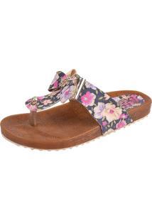 Sandália Raniel Calçados Birken Floral Preto