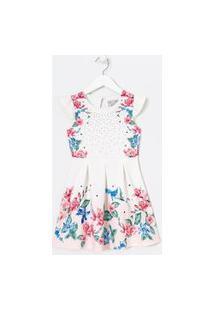 Vestido Infantil Estampa Floral Com Pregas E Strass - Tam 5 A 4 Anos | Fuzarka (5 A 14 Anos) | Branco | 5-6