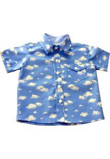 Camisa Social Manga Curta Blue Kids Chuva De Bençãos - Kanui