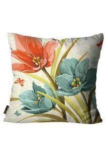 Capa Para Almofada Premium Cetim Mdecore Floral Colorida 45X45Cm