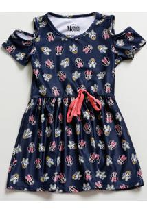 Vestido Infantil Open Shoulder Estampa Minnie Disney