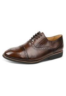Sapato Social Linha Premium Oxford Sandro Moscoloni 16047 Marrom Escuro
