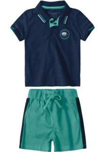 Conjunto Azul Marinho Camisa Polo Menino