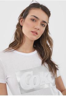 Camiseta Coca-Cola Jeans Lettering Branca - Kanui