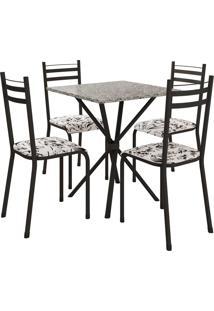 Conjunto De Mesa 70Cm 4 Cadeiras Lyon Preto Fosco Fabone