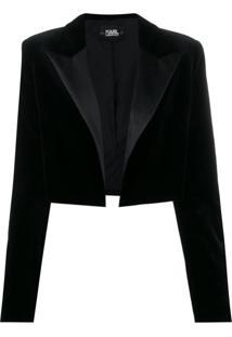 Karl Lagerfeld Karl X Carine Velvet Jacket - Preto