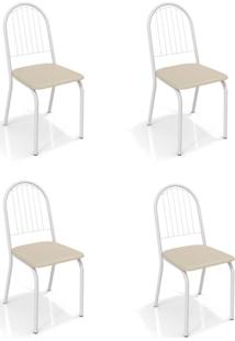 Conjunto Com 4 Cadeiras De Cozinha Noruega Branco E Nude