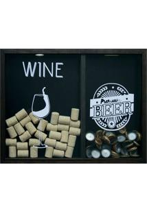 Quadro Duplo Wine/Beer Betume 30X40Cm