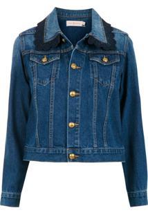 Tory Burch Jaqueta Jeans Com Bolsos - Azul