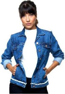 Jaqueta Jeans Sob Com Detalhes Desfiados Com Bolsos Feminina - Feminino-Azul