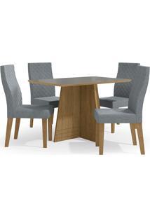 Mesa Para Sala De Jantar Com 4 Cadeiras Ba25-Kappesberg - Freijo / Cinza