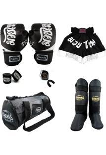 Kit Muay Thai Top Luva Bandagem Bucal Bolsa Caneleira Shorts 14 Oz Tailândes - Masculino