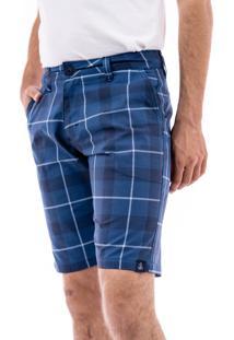 Bermuda Porto & Co Tecido Comfort Xadrez Azul