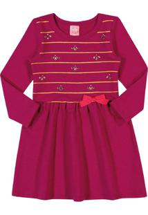 Vestido Kinha Primeiros Passos Em Molecotton Outono Inverno 03 Rosa Escuro