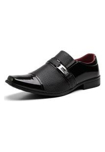Sapato Social Textura Fivela Masculino Conforto Dia A Dia