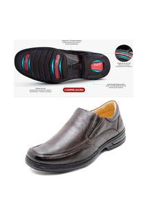 Sapato Confort Em Couro 3900102 Café 482
