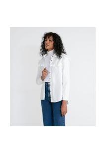 Camisa Em Veludo Com Babados Na Pala   Marfinno   Branco   G