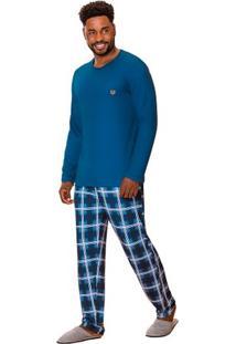 Pijama Longo Masculino Xadrez Pai E Filho Luna Cuore
