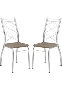 Cadeira 1710 Cromada 02 Unidades Camurça Conhaque Carraro