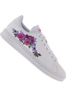 Tênis Adidas Advantage Flo - Feminino - Branco/Rosa