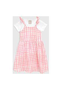 Vestido Colorittá Infantil Xadrez Com Blusa Rosa