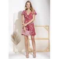 3a970177e Dzarm Web Store. Vestido Curto Estampado Com Decote De Amarração