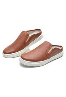 Sapato Masculino Mule De Couro Marrom Amarelado