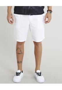 Bermuda Masculina Com Cordão E Bolsos Branca