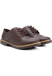 Sapato Klin Oxford Brogue Infantil - Masculino-Marrom