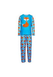 Pijama Menino Manga Longa E Calça Isabb Raposa Azul
