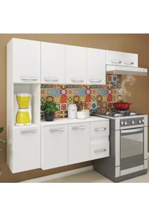 Cozinha Compacta 9 Portas 2 Gavetas Suspensa Armário E Balcão Anita Branco - Pnr Móveis