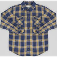 b6621c063 Camisa Infantil Estampada Xadrez Com Bolsos Manga Longa Azul Marinho
