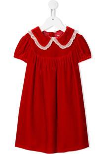 Bonpoint Vestido Com Gola Peter Pan - Vermelho