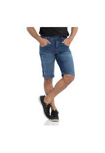 Bermuda Jeans Biotipo Reta Puídos Azul