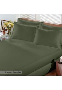 Lençol Com Elástico King Size- Verde Militar- 40X193Buettner